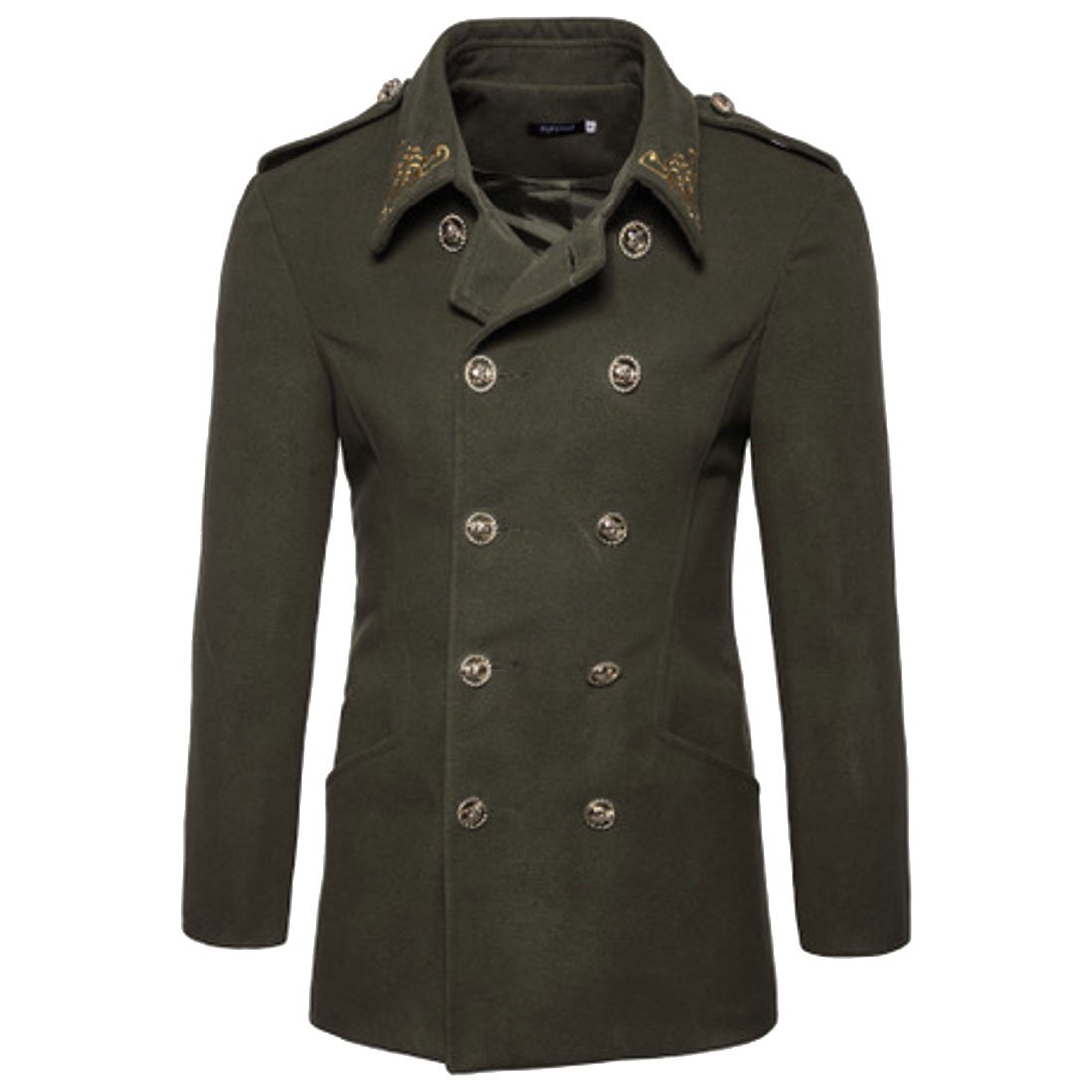MU2M Mens Winter Fall Double Breasted Solid Slim Fit Outwear Pea Coats