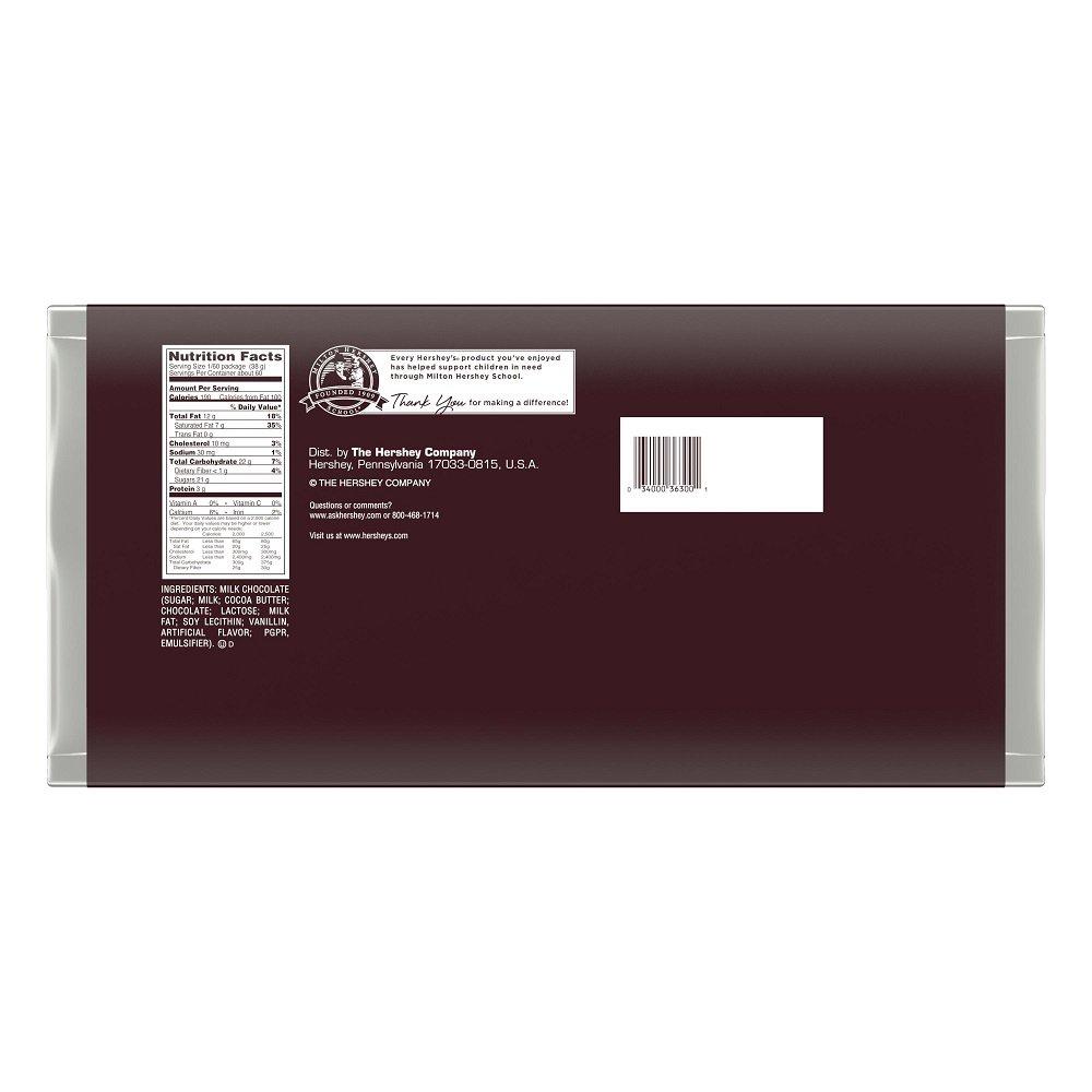 Amazon.com : HERSHEY'S Chocolate Bar, Milk Chocolate Candy Bar, 5 ...