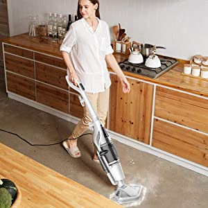 OR&DK 2 in 1 steam Cleaner, Steam mop High Temperature Steam Wiper Sweeping dust Electric mop for The Family-White
