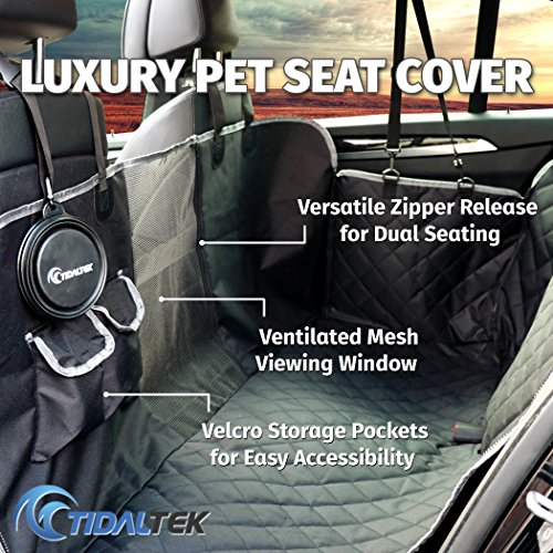 Tidal Tek Vented Luxury Pet Seat Cover. Dual Seating, Mesh Viewing Panel, Waterproof, Door/Seat Protection + Dog Safety Belt & Travel Bowl. Durable, Scratch Resistant, Non-Slip for Cars, Trucks, SUVs ()