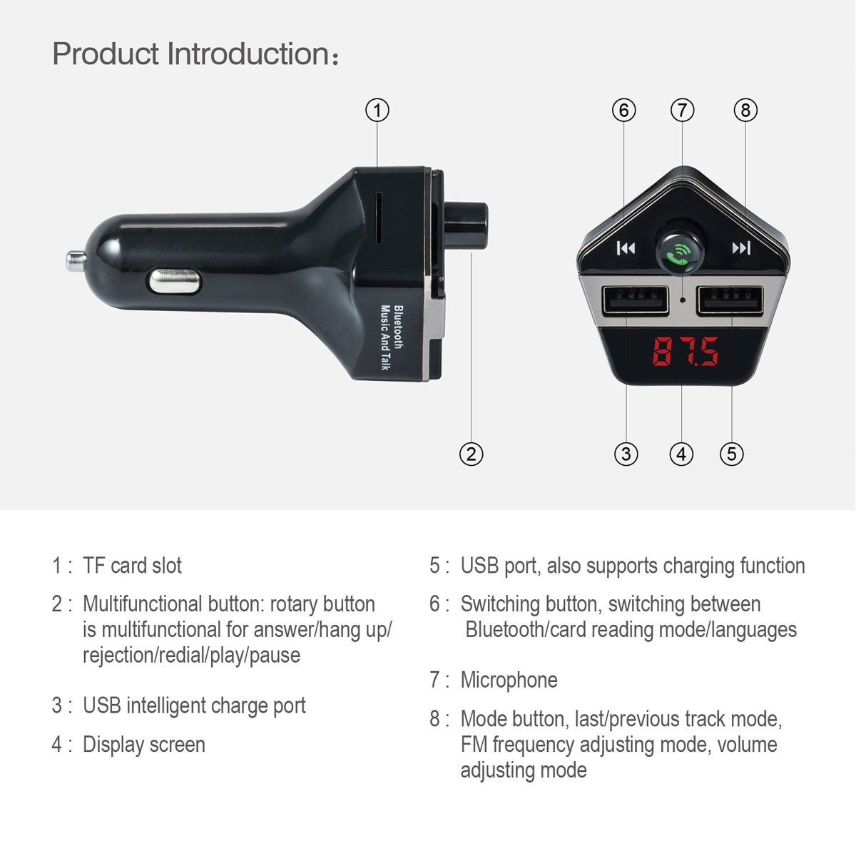 Bluetooth FM Transmitter Uniwit Car MP3 Player Bluetooth Handsfree Car Kit Wireless Radio Adapter with TF Slot Dual USB Charger Aux Input Magnetic Mount for iPhone IOS Android Phones