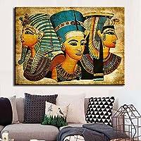 OYJJ Egipto Antiguo Pintura de Tinta Moderno Abstracto faraón Egipcio Lienzo Arte Pintura al óleo decoración del hogar