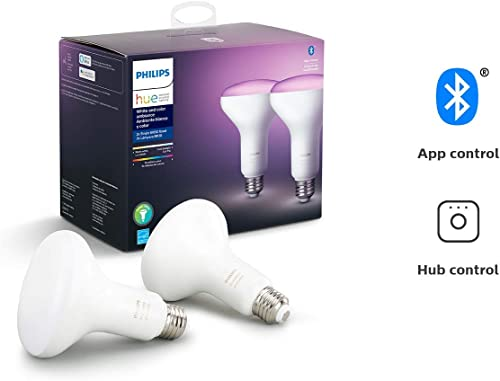 Philips Hue White and Color Ambiance 2-Pack BR30 LED Smart Bulb