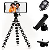 TalkWorks Flexible Phone Tripod for iPhone, Android, Camera - Adjustable Stand Holder with Mini Wireless Remote for Selfies,