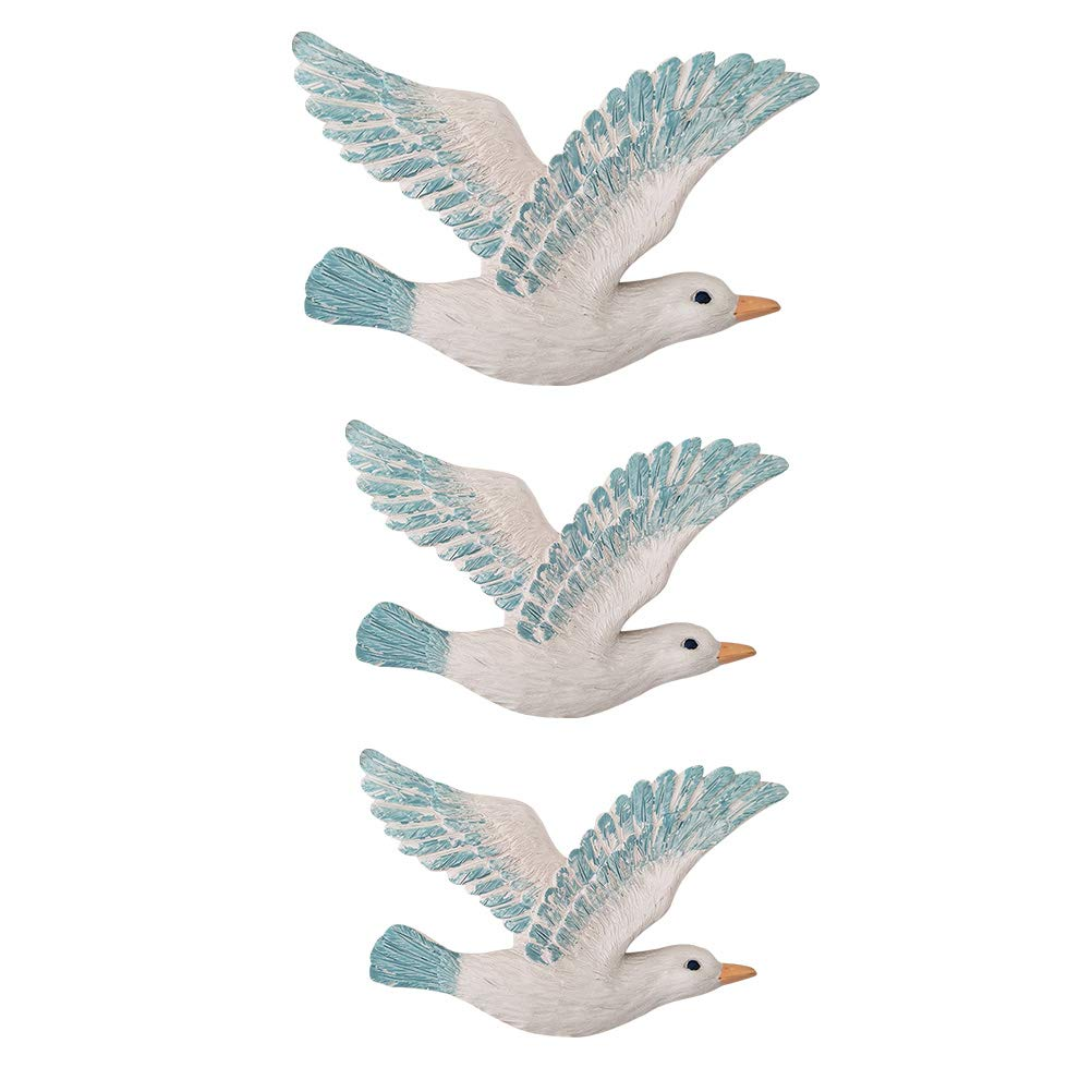 Vosarea 3Pcs Resin Wall Hanging Seagulls Birds Nautical Beach Wall Decorations
