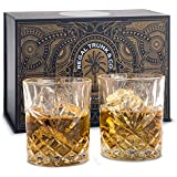 Diamond Cut Whiskey Glass Set of 2 - Old Fashioned Lead-Free Crystal Tumblers for Whisky Bourbon Scotch or Rum - Stunning Craftsmanship, Weighted Ergonomic Design | Whiskey Glasses Set of 2