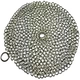 Umiwe Basics Round Cast Iron Cleaner 7 Inch Stainless Steel Chainmail Scrubber Skillet Cleaner with Ring