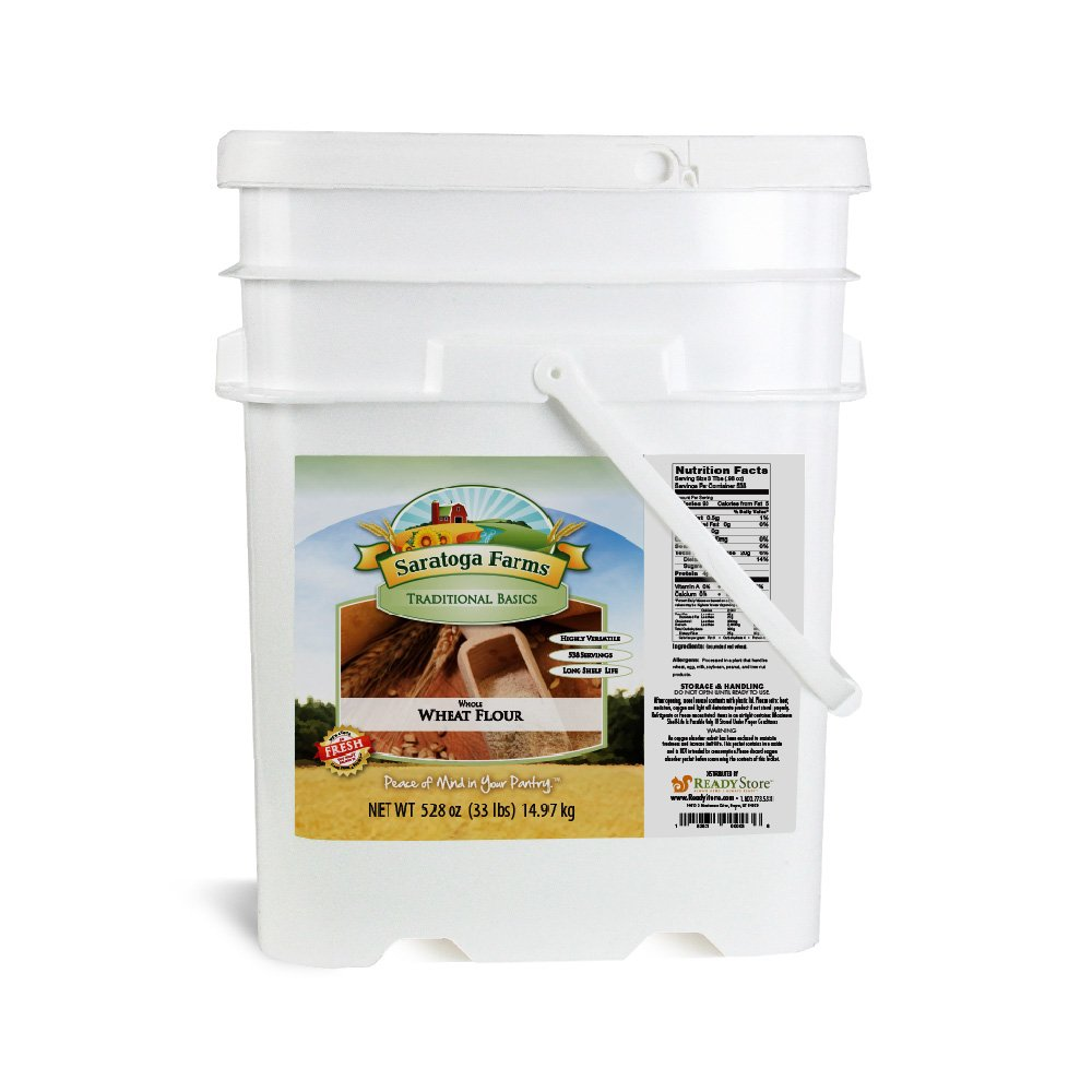 Saratoga Farms Whole Wheat Flour ValueBUCKET, 5.3-Gallon Stackable Bucket, 33lbs, 538 Total Servings, Dehydrated, Food Storage, Cooking, Every Day Use