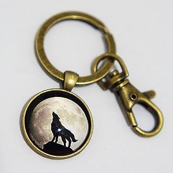 Encanto Llavero, diseño de lobo aullando. Luna arte Llavero ...