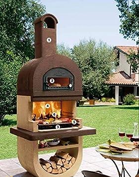 DIVA barbacoa de piedra con horno, acero inoxidable y su soporte DIVA mesa: Amazon.es: Jardín
