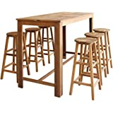 Festnight 7 Piece Dining Set Counter Height Table and 4 Bar Stool Set Pub Table Set for Bistro Breakfast Kitchen Cafe Room Home Furniture Solid Acacia Wood