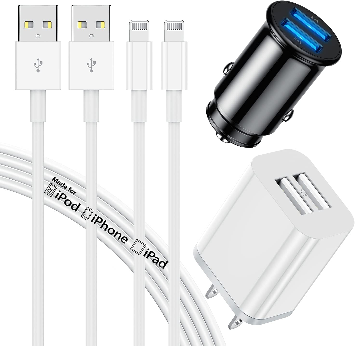 iPhone Car Charger, Apple MFi Certified 6ft Lightning to USB Charging Cable(2pack) with Dual Port USB Wall & Car Charger Adapter(24W/4.8A) for Apple iPhone 11 12 Pro Max X Xs XR 8 7 6s 5 SE, iPad Pro