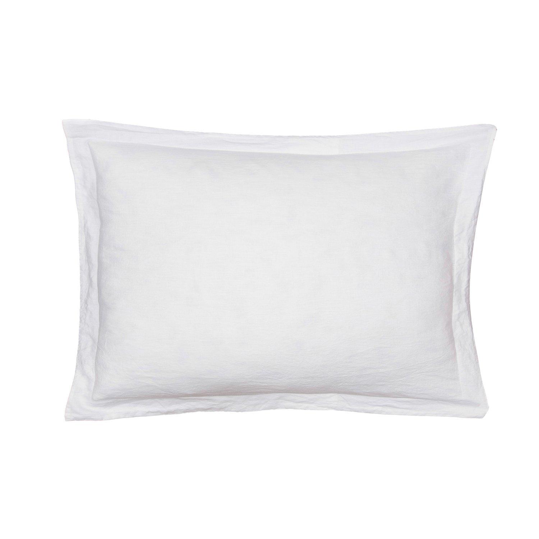 Levtex Washed Linen Std Sham w White Flange