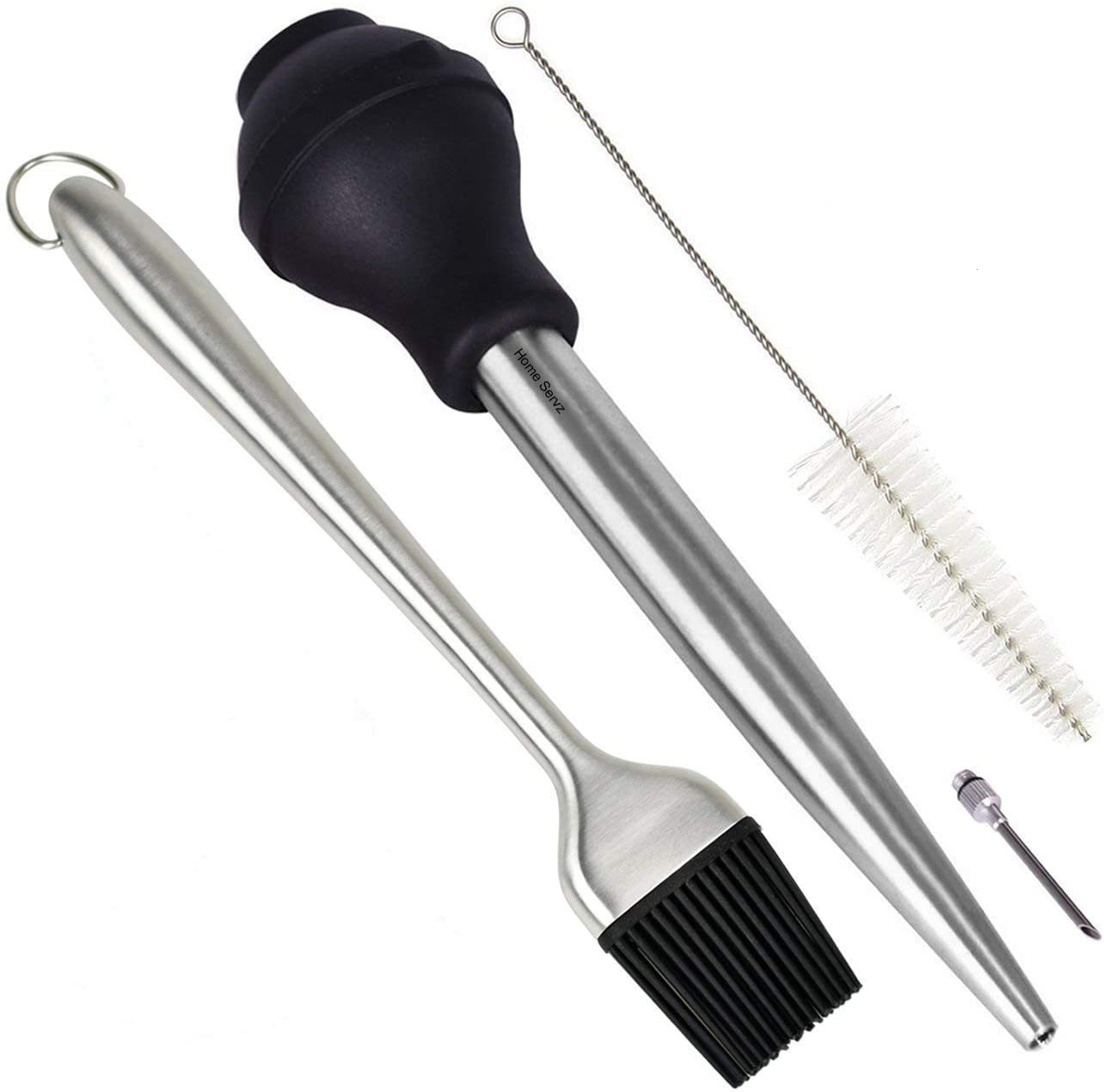 Home Servz 304 Stainless Steel Turkey Baster Syringe - Injector Needle with Cleaning Brush - Food Grade Silicone Bulb & 12 Inch Stainless Steel Handle Silicone BBQ Basting Brush