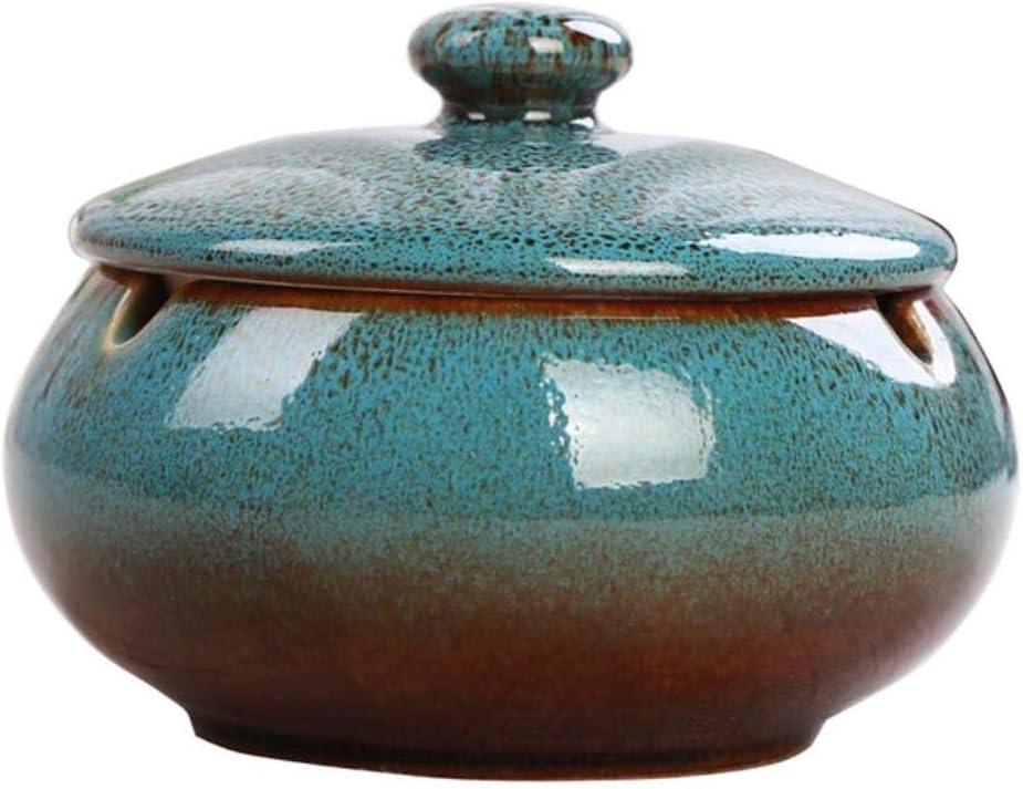 FSHB Cenicero de cerámica para Exteriores Cenicero de cerámica con Tapa Cenicero a Prueba de Viento para cenicero ahumador de sobremesa Cenicero de Cigarrillos, Azul 11x8cmCerami