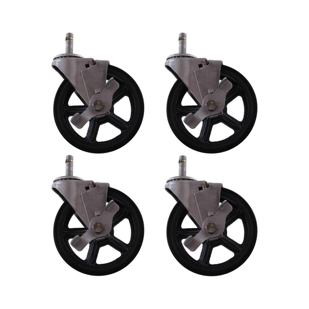 4 Pack - 5'' CC Vintage Swivel Caster with Wheel Brake - Grip Stem Mount - Black Polyureathane Wheel