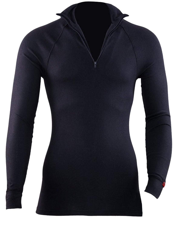 Blackspade Winter Thermal Active Sportwear Unisex Zipper T-Shirt with Long Sleeves, Black, Medium