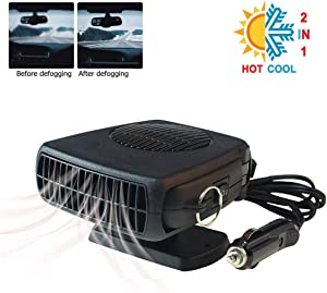 Car Heater Defroster 2019 Upgrade Portable Anti-Fog 200W 12V Plug in Cigarette Auto Heater Fan 2 in 1 Fast Heating/Cooling with Ergonomic Handle Windshield Defogger Demister De-Icer