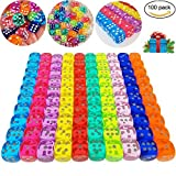 100 Pieces Translucent Colors 6-Sided Games Dice Set, 14 mm Round Corner Dice for Playing Games, Like Board Games, Dice Games, Math Games, Party Favors, Toy Gifts or Teaching Kids Math (100 Pack)