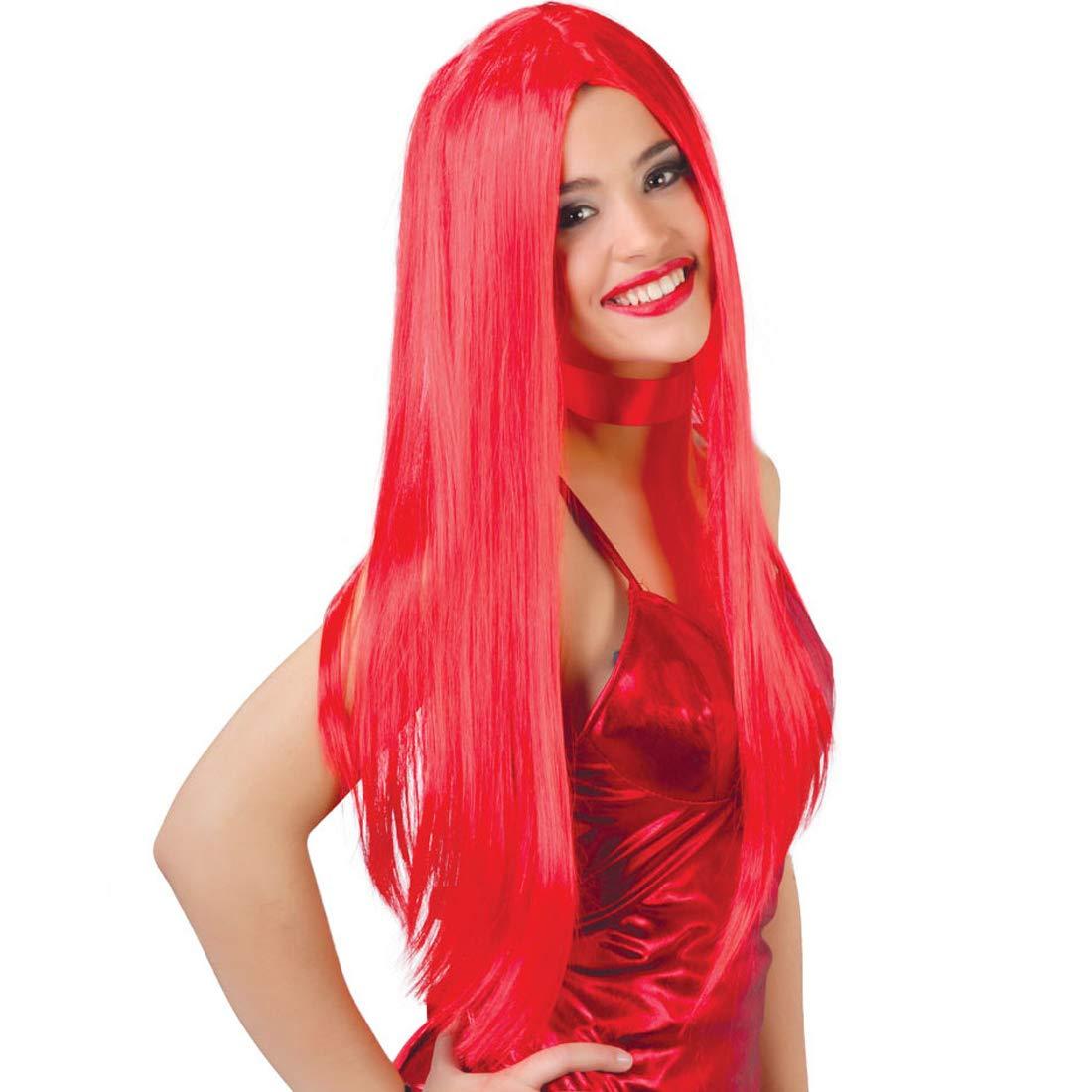 NET TOYS Estilizada Peluca Lisa Peluca de Dama Diabla - Rojo ...