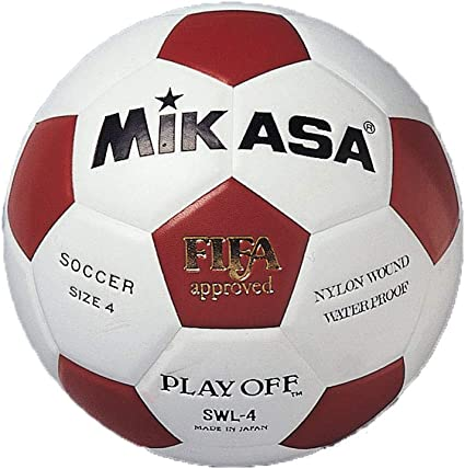 MIKASA SWL-4 - Balón de fútbol, Color Blanco/Rojo, Talla 4: Amazon ...