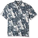 Reyn Spooner Men's Cotton Classic Fit Button Front Hawaiian Shirt, Navy Island Cotton, 3XL