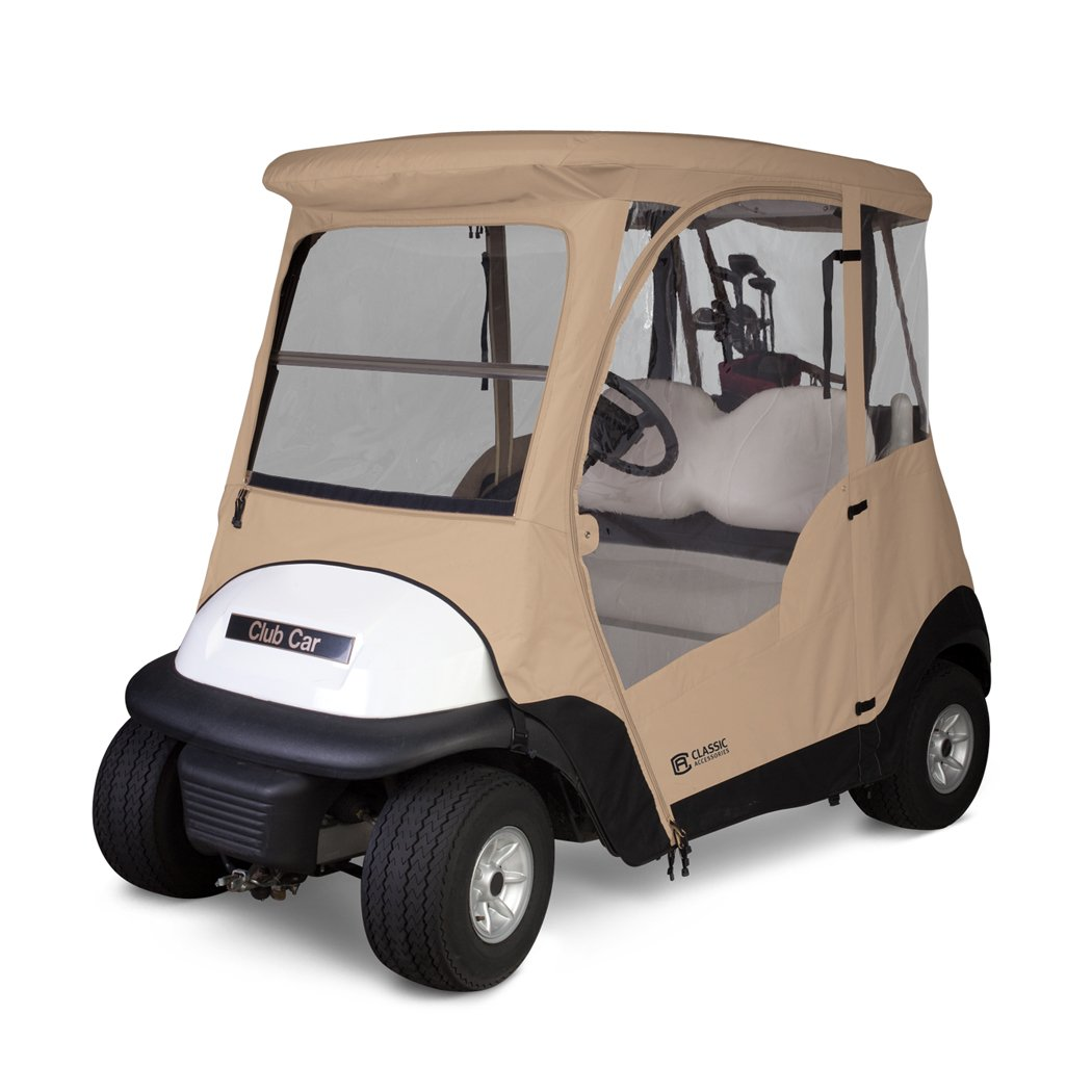 Classic Accessories Fairway Deluxe 4-Sided 2-Person Golf Cart Enclosure For Club Car, Tan by Fairway (Image #1)