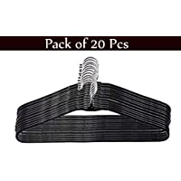 Ivaan 20 Pcs Black Heavy Stainless Steel Cloth Hanger with Plastic Coating Set of 20