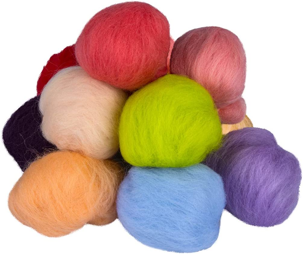 SROL Needle Felting Starter Kit Set 36 Colors Wool Roving Set with 74Pcs Needle Felting Kit Wool for Needle Felting Wool DIY Craft Beginners(2019 Upgraded Version)