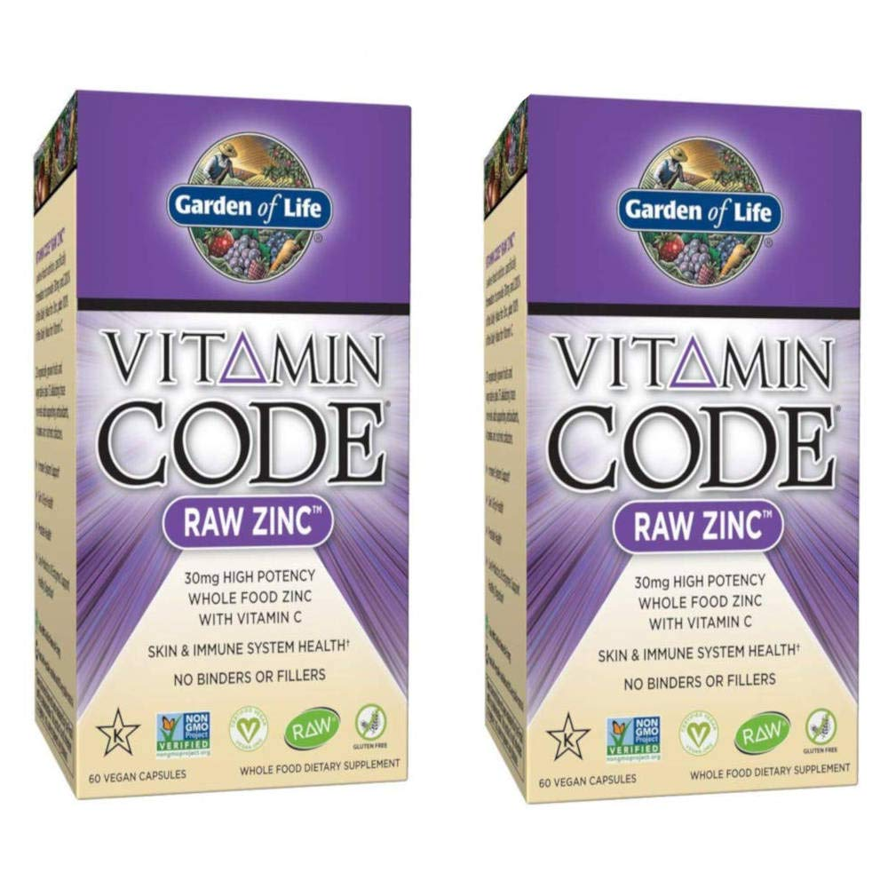 Garden of Life Vitamin Code Raw Zinc Whole Food with Vitamin C High Potency 30 mg 60 Capsules (Pack of 2