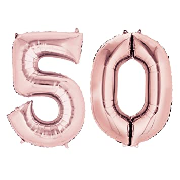 40 Rose Gold Number Balloons 50 For 50th Birthday Decorations Helium Balloon Foil