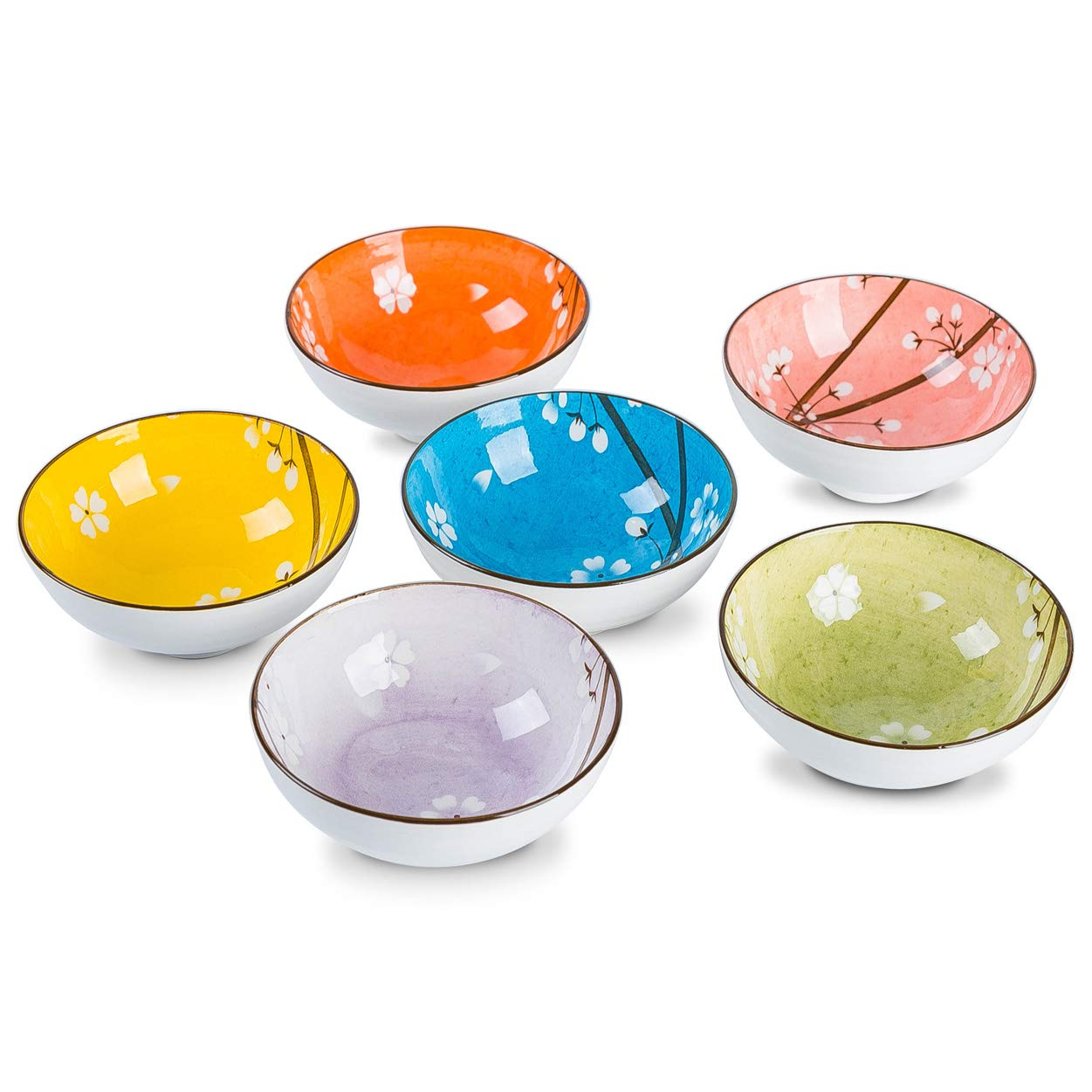 AnBnCn 6 Packs 10-Ounce Porcelain Small Bowl Set for Rice and Beans, Dessert, Small Side Dishes, Pudding, Sauce - Multi-Color-(Japanese Style-B)