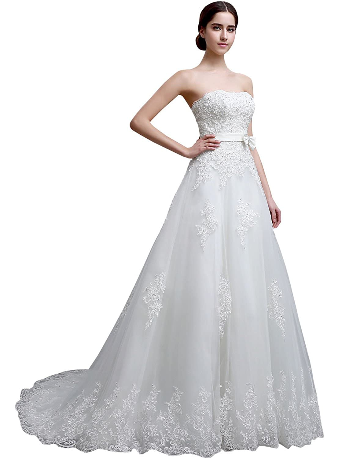 Sarahbridal Women's A-line Strapless Brides Wedding Dresses Lace Bridal Gowns with Beaded SLGM15