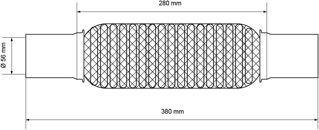 assemblage sans soudure flex tube d/échappement verrouillage ECD Germany Tuyau flexible d/échappement 61 x 100 x 202 mm avec 2 colliers en acier inoxydable
