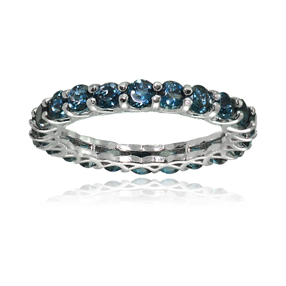 Ice Gems Sterling Silver London Blue Topaz 3mm Round-Cut Eternity Band Ring, Size 7 by Ice Gems (Image #1)