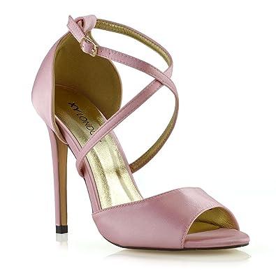eb177da74311c ESSEX GLAM Womens Ankle Strap Stiletto Heel Sandals Ladies Satin Buckle  Bridal Party Shoes UK 3