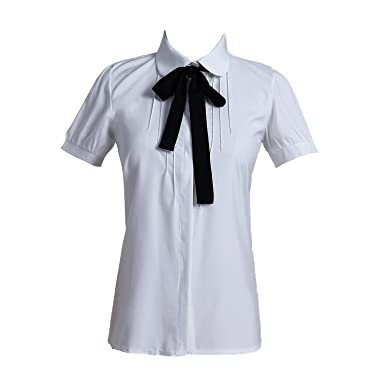 a1b363e6e098c1 Taiduosheng women Ivory White Bowtie Baby Collar Tops Blouses short sleeve  OL Chiffon Button down Shirt
