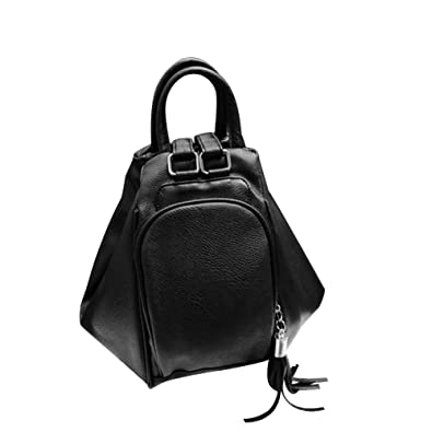 c741cebba7 Amazon.com  Lx10tqy Women Fashion Faux Leather Zipper Backpack Travel  Shoulder Tassel School Bag Black  Shoes
