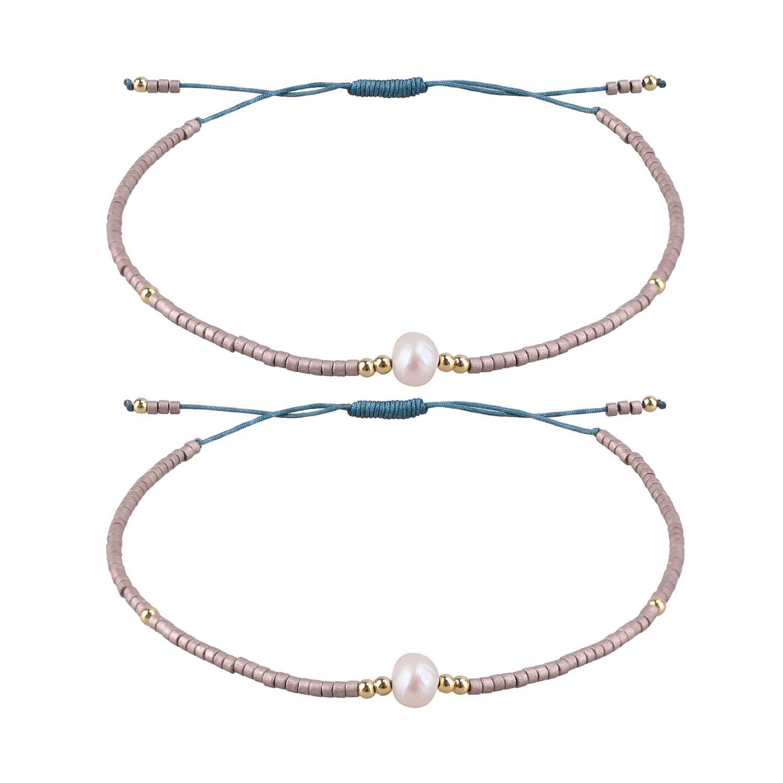 KELITCH 2 Pcs Friendship Bracelets New Seed Beaded Woven Lovers Bracelets Handmade Strand Bangles Gifts (Grey Gold 01K)