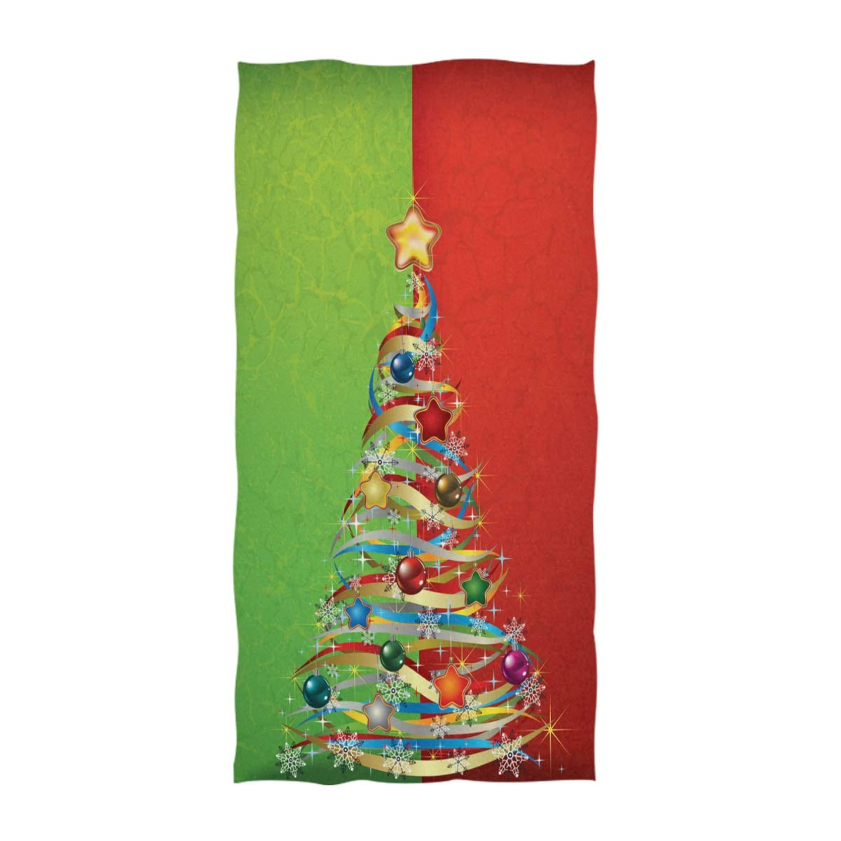 Naanle Stylish Abstract Green Red Christmas Tree Greeting Print Soft Bath Towel Large Guest Hand Towels Multipurpose for Bathroom Hotel Gym and Spa 16 x 30