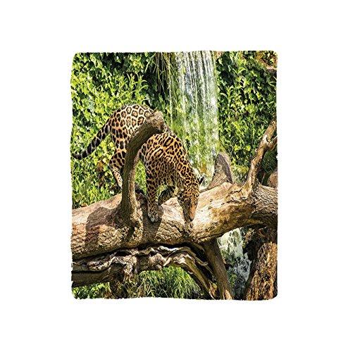 VROSELV Custom Blanket Safari Collection Jaguar Cat on a Tree Trunk Waterfall Endangered Species Wild Life Fast Animal Image Bedroom Living Room Dorm Green Peru Tan by VROSELV