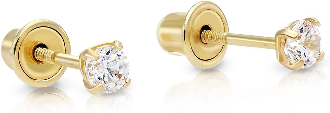 14kt Solid Gold Kids Round Screwback Stud Earrings