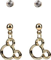 SIX Ohrringe Set: 2 Micky Maus Ohrhänger in goldfarben und 2 weiße Strassstein Ohrstecker in goldener Fassung, für Disney-Fans, 2er Set (761-331)