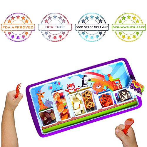 Milliard Kids Dinnerware Game Plate | Toddler Dish for Picky Eaters | BPA Free | FDA Food Safe