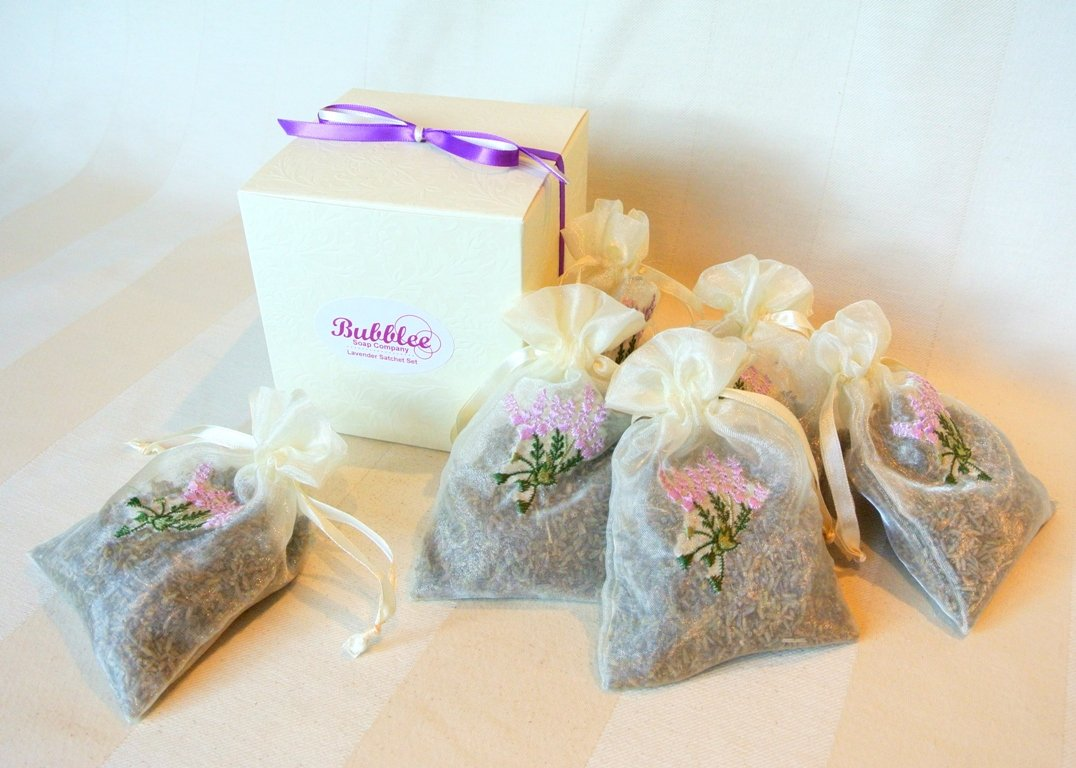 French Lavender Sachet Gift Set (6 packs) - Lovely 4''x6'' Lavender Flower Embroidered Sachets for Pillow, Nightstand, Drawer, Closet, Car, Suitcase, etc.