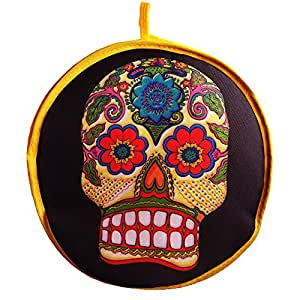 """Tortilla Warmer 10.5""""-Insulated Fabric Pouch - Keeps warm for 1 hour (1 pack, skull)"""