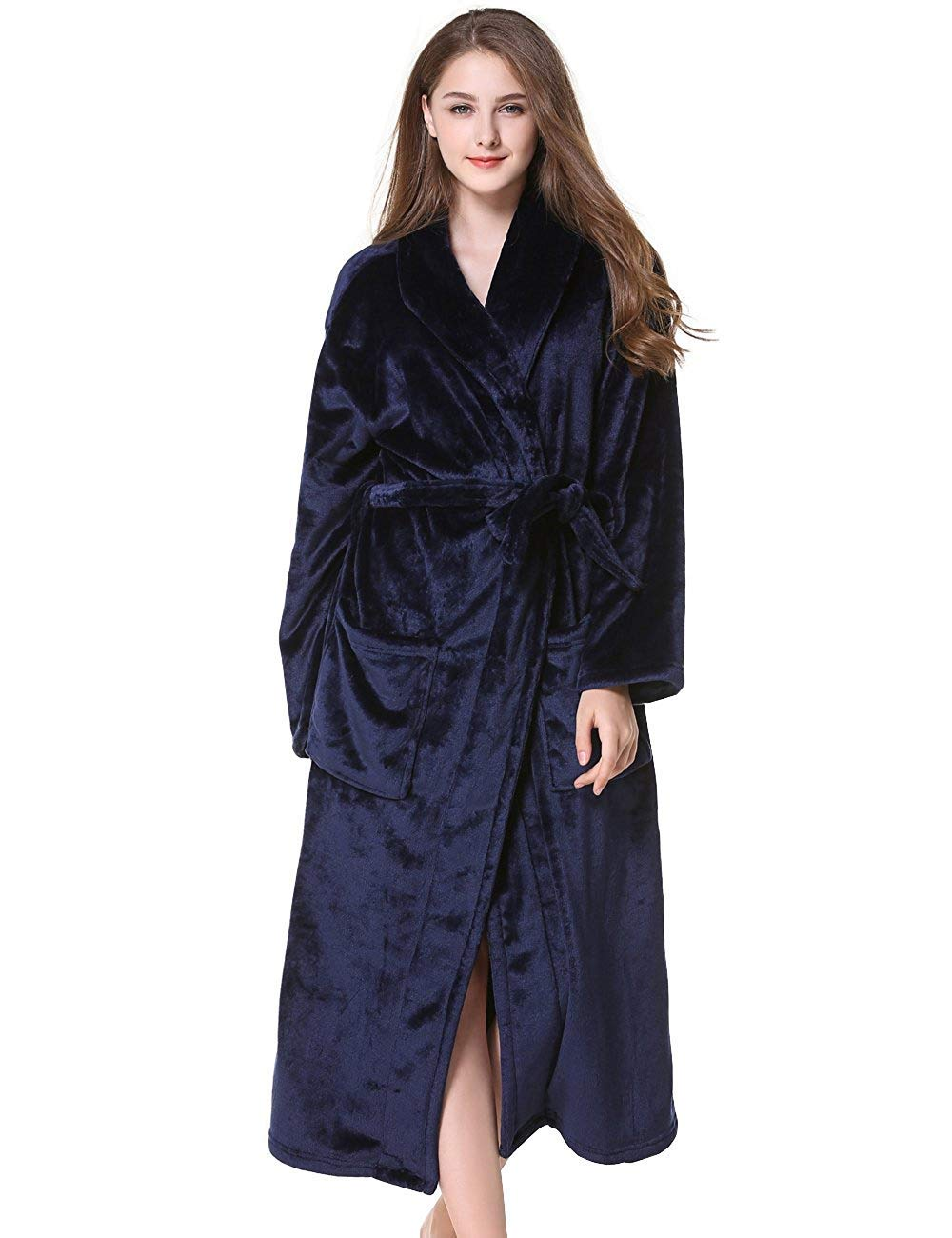 WEEN CHARM Ultra Soft Plush Robe For Men With Shawl Collar,Navy Blue,Medium