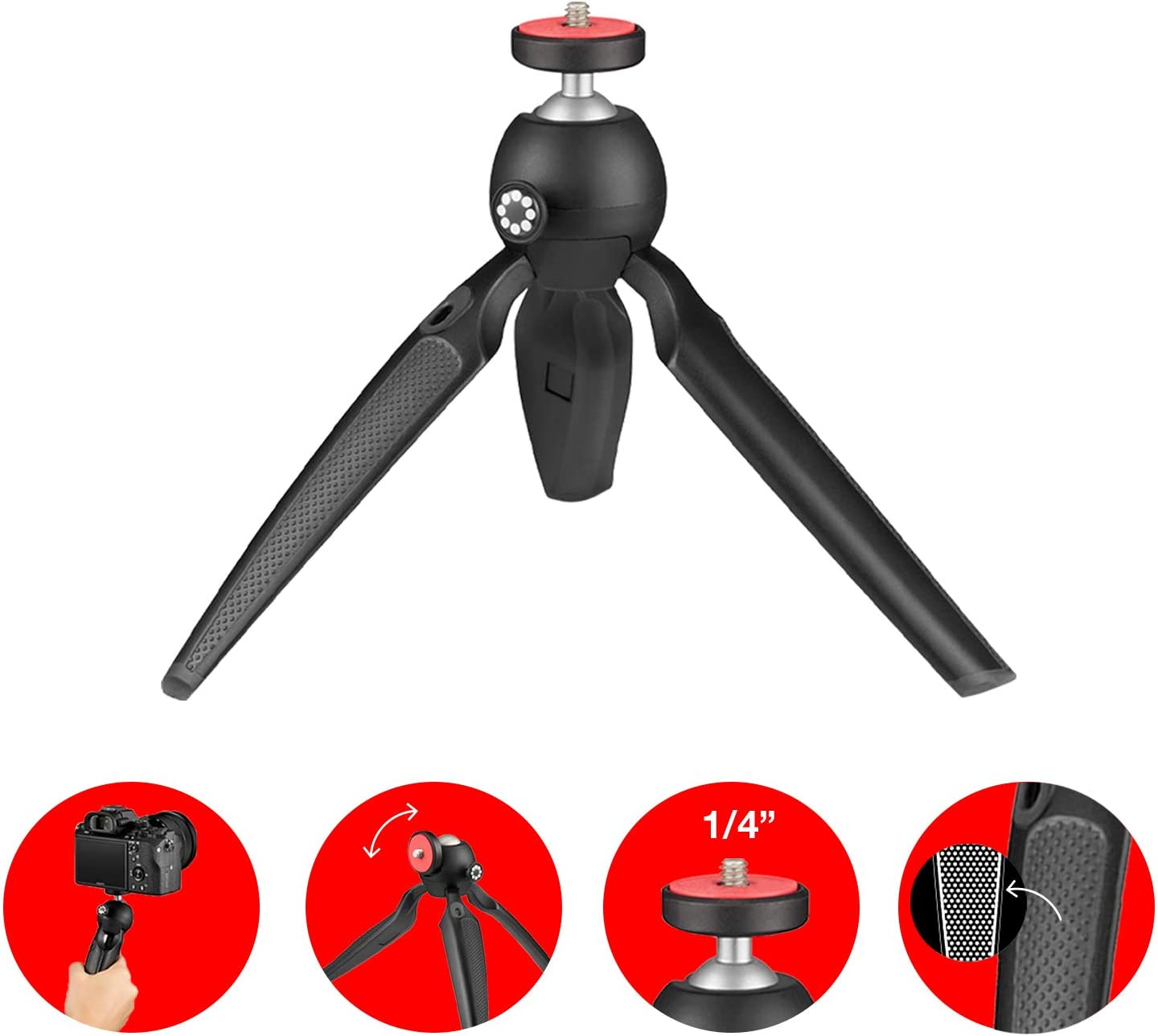 Mini Desktop Tripod,Portable Non-Slip Tabletop Tripod Base Stand Handle Grip Holder Stabilizer Photography Accessory with 1//4 inch Screw Pattern Universal for Smartphone Action Camera Gray