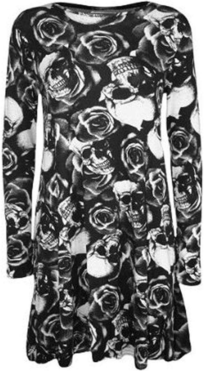 New Women Ladies Long Sleeve Halloween Prints Swing Skater Dress Plus Size 8-26
