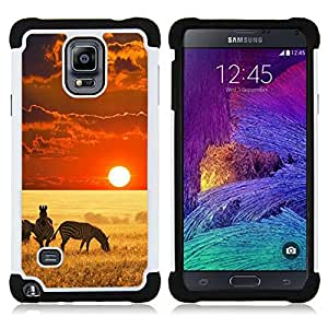 - Africa sunset zebra red fiery animals nature/ H??brido 3in1 Deluxe Impreso duro Soft Alto Impacto caja de la armadura Defender - SHIMIN CAO - For Samsung Galaxy Note 4 SM-N910 N910